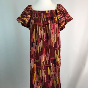 Elle S Small Womens Dress Burgundy Geometric Print